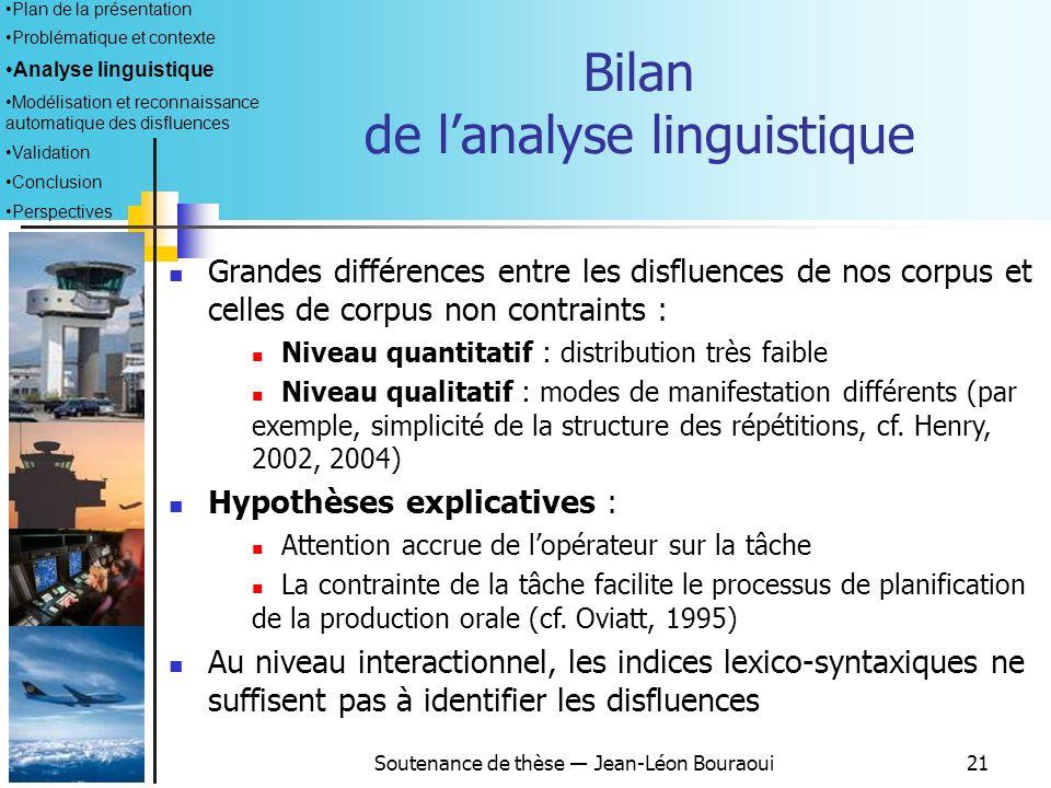 Soutenance de thèse Jean-Léon Bouraoui20 Plan de la présentation Problématique et contexte Analyse linguistique Modélisation et reconnaissance automat