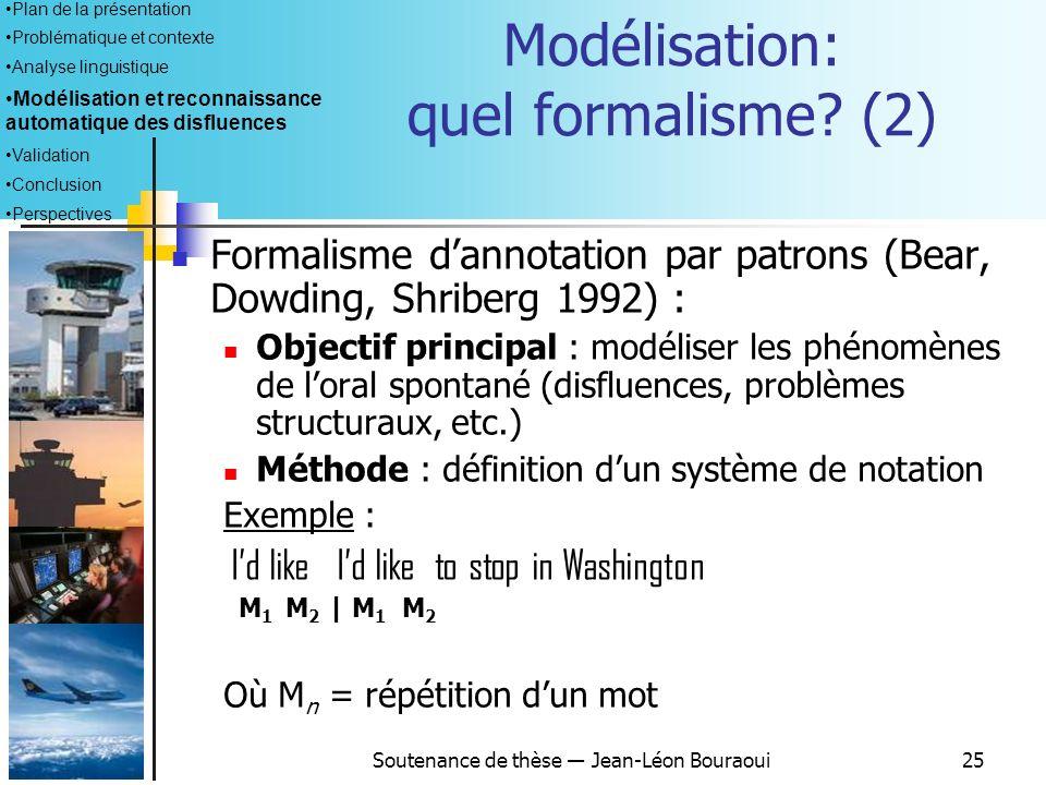 Soutenance de thèse Jean-Léon Bouraoui24 Modélisation : quel formalisme? (1) Cahier des charges : Adaptation à lobjet détude Capacité dexpression et d