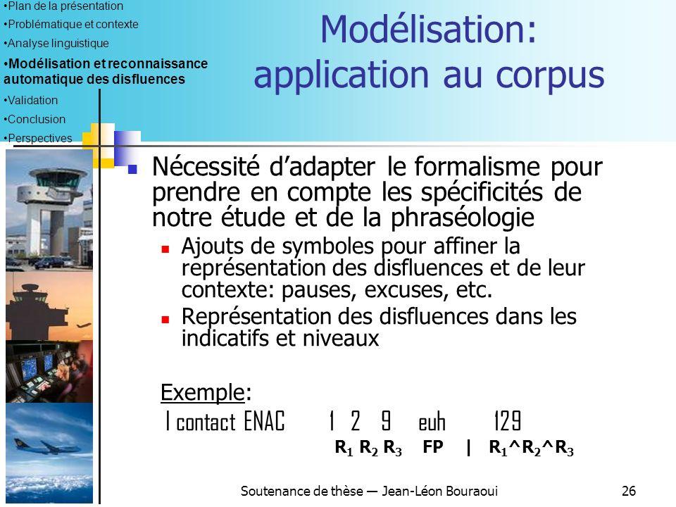 Soutenance de thèse Jean-Léon Bouraoui25 Formalisme dannotation par patrons (Bear, Dowding, Shriberg 1992) : Objectif principal : modéliser les phénom