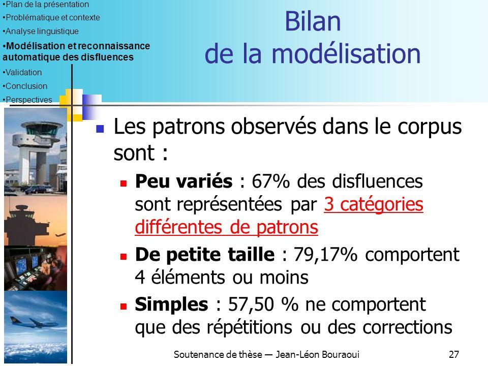 Soutenance de thèse Jean-Léon Bouraoui26 Modélisation: application au corpus Nécessité dadapter le formalisme pour prendre en compte les spécificités