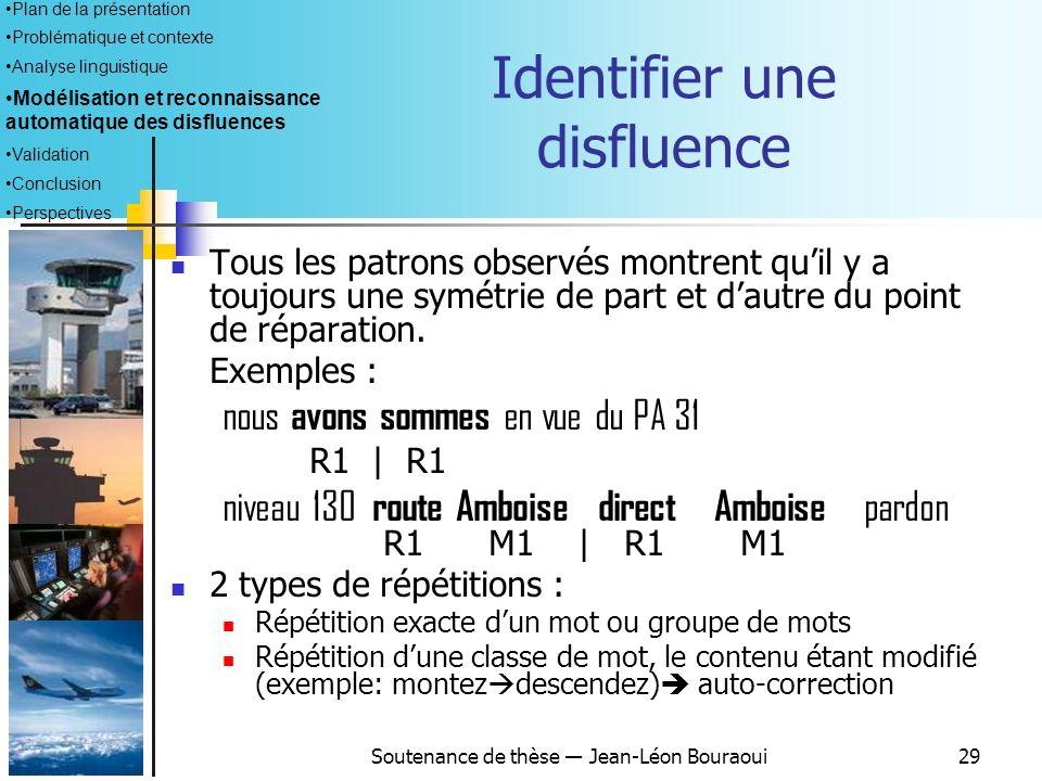 Soutenance de thèse Jean-Léon Bouraoui28 Description générale du module Principes de fonctionnement : Recherche de patrons caractéristiques des disflu