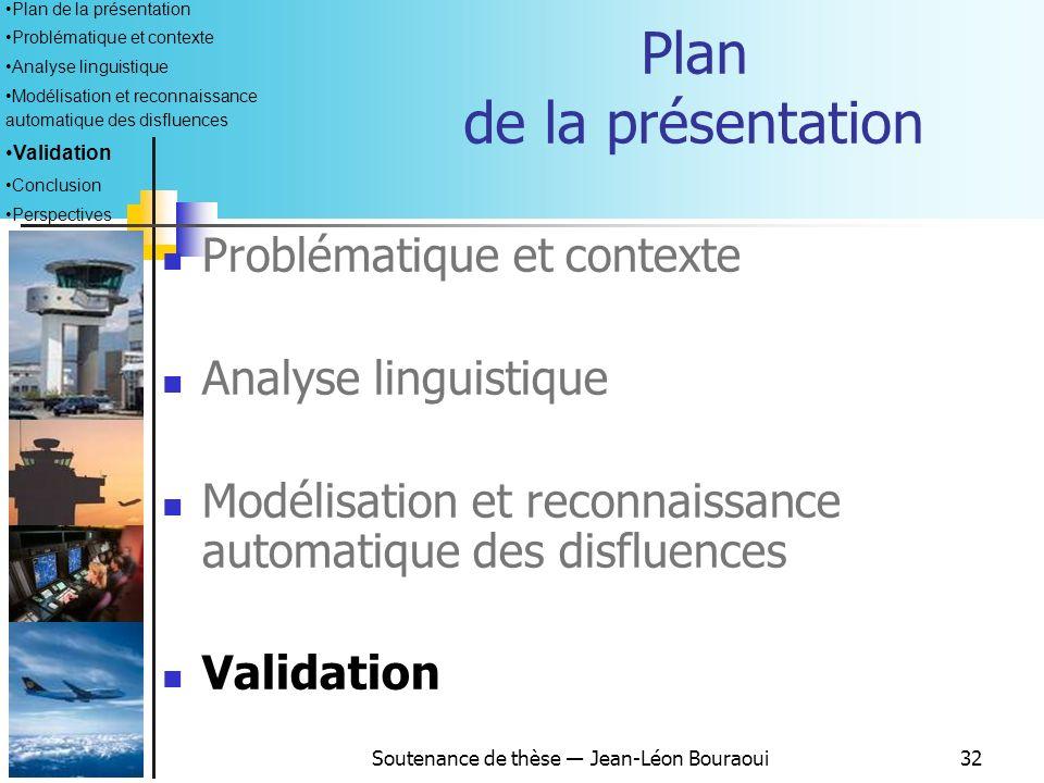 Soutenance de thèse Jean-Léon Bouraoui31 Intégration dans VOICE Historique des ordres Agent SRA Agent de reconnaissance vocale Grammaire Context-Free