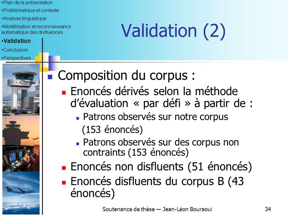 Soutenance de thèse Jean-Léon Bouraoui33 Objectifs : mesurer la pertinence et lefficacité du module proposé Moyens : Constitution dun corpus de 400 én