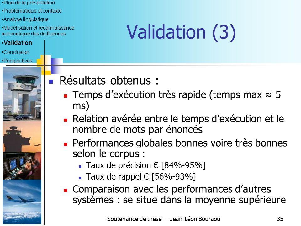 Soutenance de thèse Jean-Léon Bouraoui34 Validation (2) Composition du corpus : Enoncés dérivés selon la méthode dévaluation « par défi » à partir de