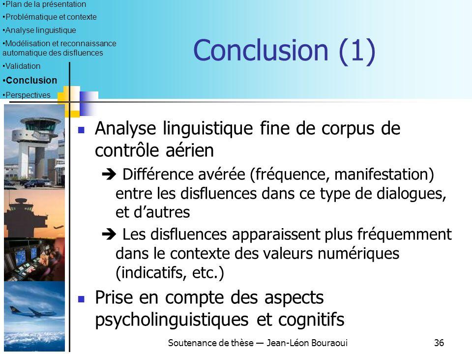 Soutenance de thèse Jean-Léon Bouraoui35 Validation (3) Résultats obtenus : Temps dexécution très rapide (temps max 5 ms) Relation avérée entre le tem