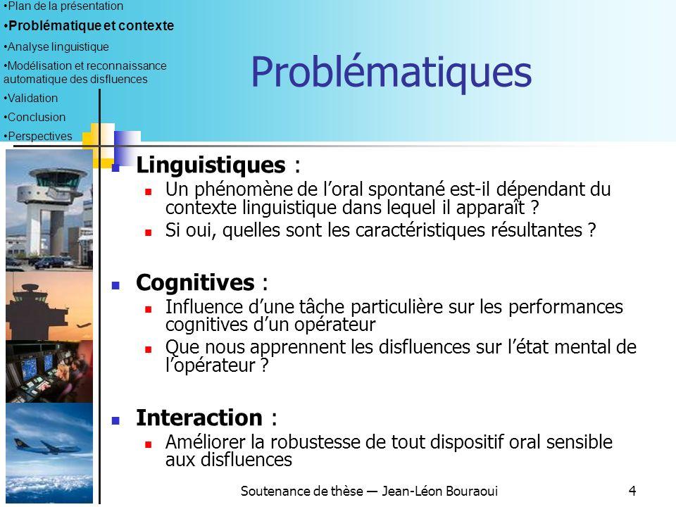 Soutenance de thèse Jean-Léon Bouraoui4 Problématiques Linguistiques : Un phénomène de loral spontané est-il dépendant du contexte linguistique dans lequel il apparaît .