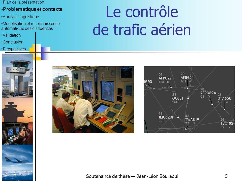 Soutenance de thèse Jean-Léon Bouraoui5 Le contrôle de trafic aérien Plan de la présentation Problématique et contexte Analyse linguistique Modélisation et reconnaissance automatique des disfluences Validation Conclusion Perspectives
