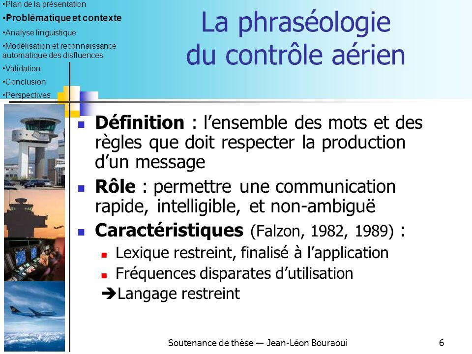 Soutenance de thèse Jean-Léon Bouraoui5 Le contrôle de trafic aérien Plan de la présentation Problématique et contexte Analyse linguistique Modélisati