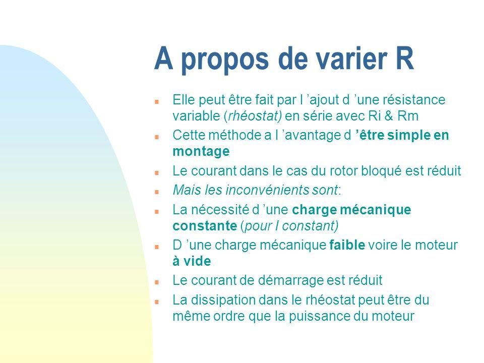 A propos de varier R n Elle peut être fait par l ajout d une résistance variable (rhéostat) en série avec Ri & Rm n Cette méthode a l avantage d être
