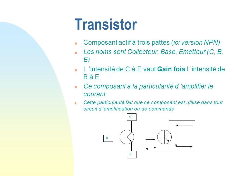 Transistor n Composant actif à trois pattes (ici version NPN) n Les noms sont Collecteur, Base, Emetteur (C, B, E) n L intensité de C à E vaut Gain fo