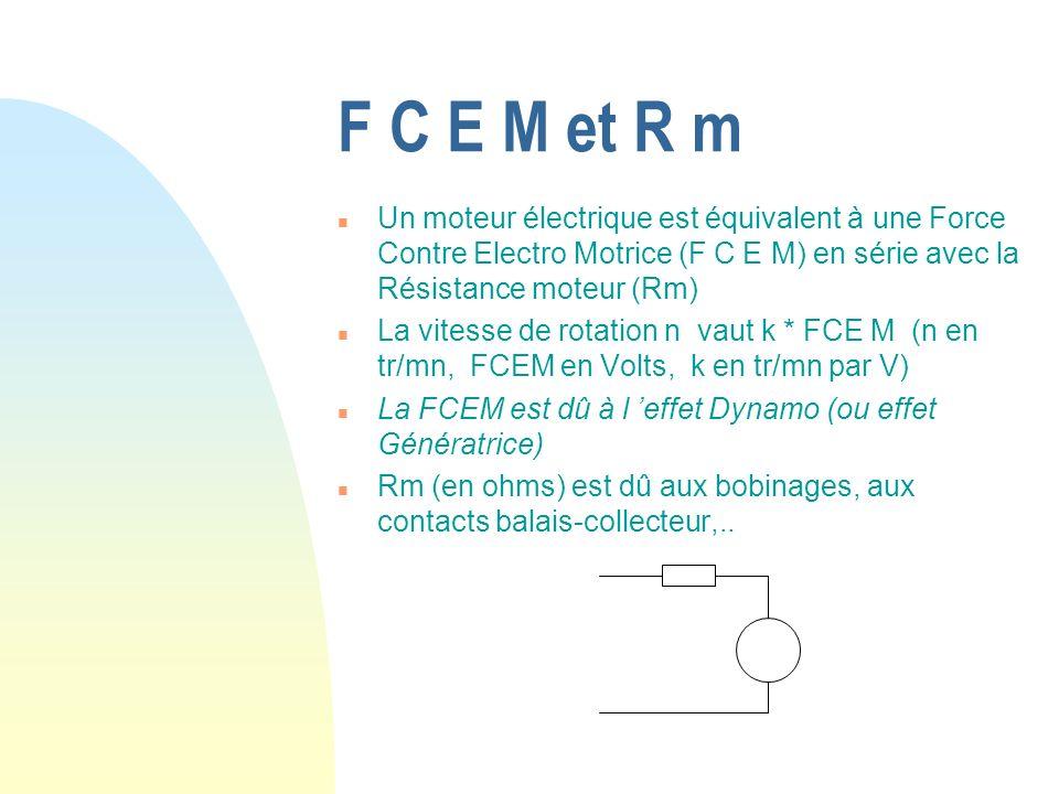 F C E M et R m n Un moteur électrique est équivalent à une Force Contre Electro Motrice (F C E M) en série avec la Résistance moteur (Rm) n La vitesse