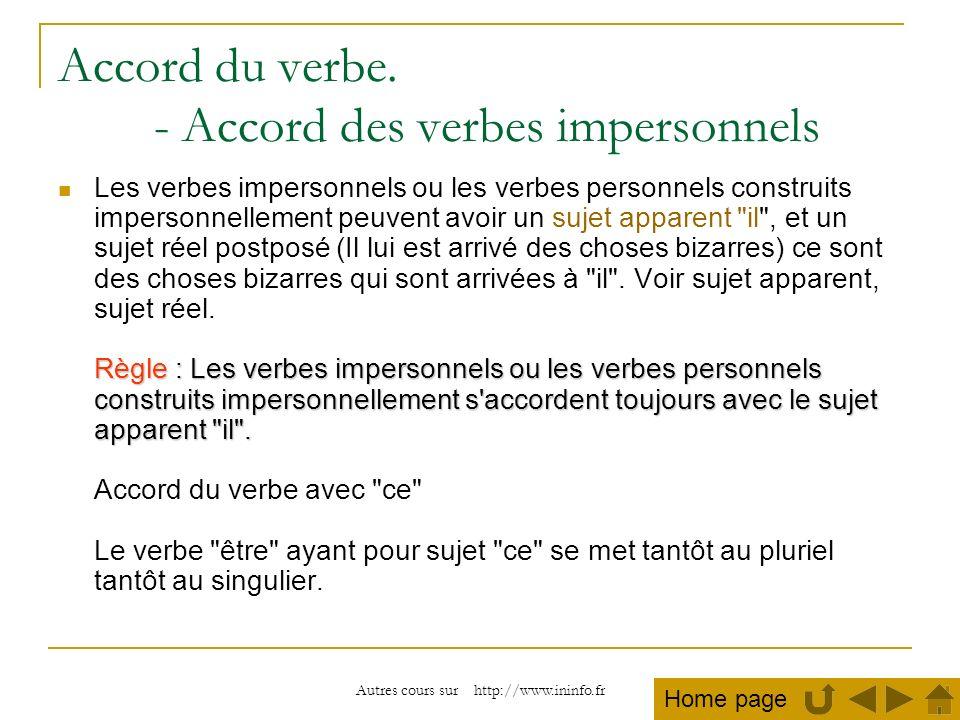 Autres cours sur http://www.ininfo.fr Accord du verbe. - Accord des verbes impersonnels Règle : Les verbes impersonnels ou les verbes personnels const