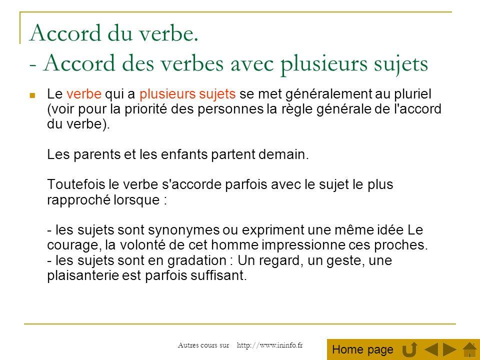 Autres cours sur http://www.ininfo.fr Accord du verbe. - Accord des verbes avec plusieurs sujets Le verbe qui a plusieurs sujets se met généralement a