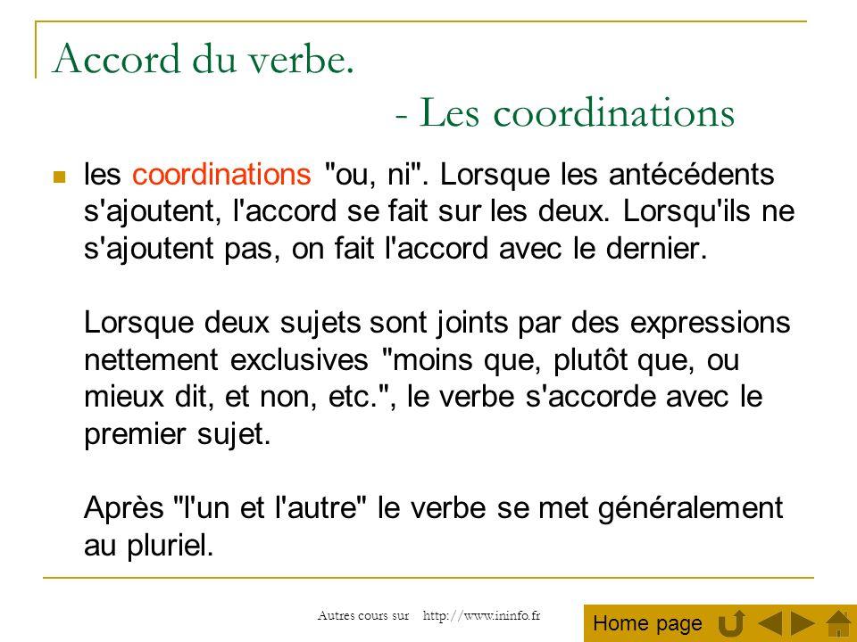 Autres cours sur http://www.ininfo.fr Accord du verbe. - Les coordinations les coordinations