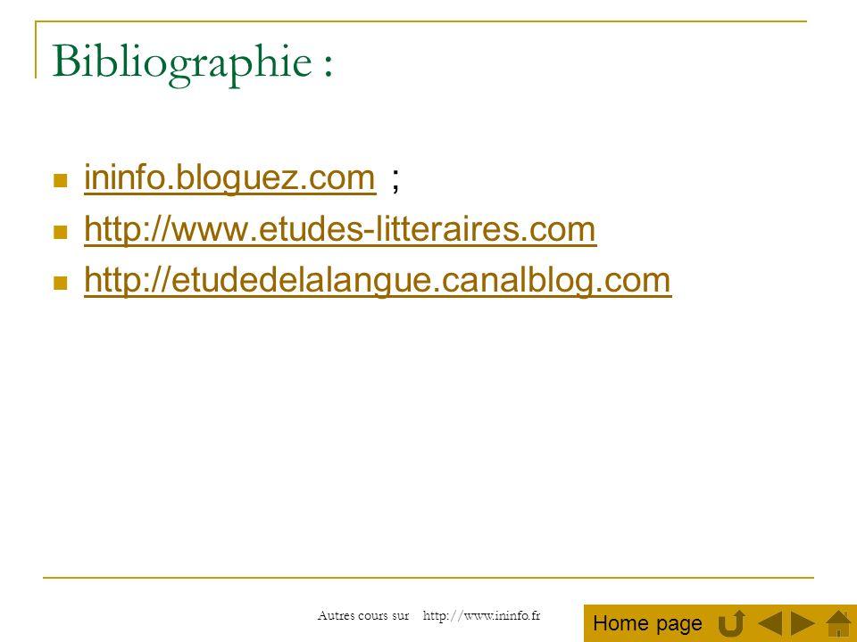 Autres cours sur http://www.ininfo.fr Bibliographie : ininfo.bloguez.com ; ininfo.bloguez.com http://www.etudes-litteraires.com http://etudedelalangue