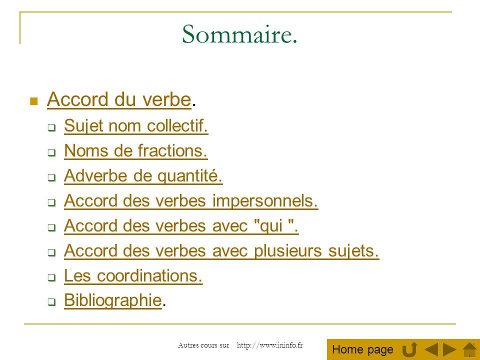 Autres cours sur http://www.ininfo.fr Sommaire. Accord du verbe. Accord du verbe Sujet nom collectif. Noms de fractions. Adverbe de quantité. Accord d