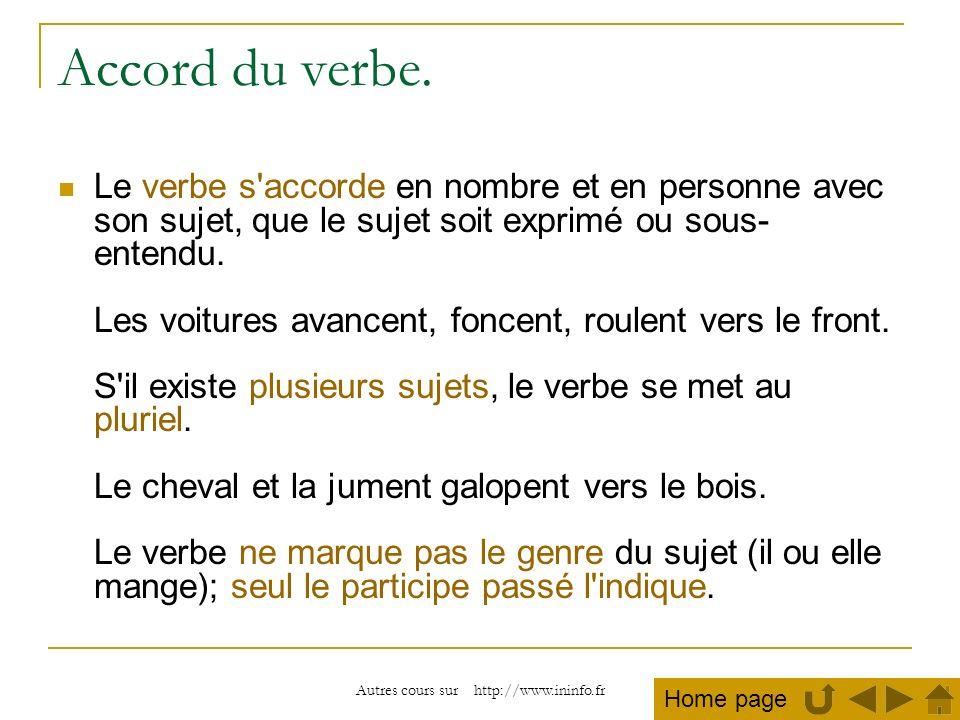 Autres cours sur http://www.ininfo.fr Accord du verbe. Le verbe s'accorde en nombre et en personne avec son sujet, que le sujet soit exprimé ou sous-