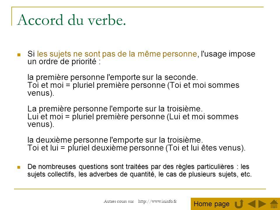 Autres cours sur http://www.ininfo.fr Accord du verbe. Si les sujets ne sont pas de la même personne, l'usage impose un ordre de priorité : la premièr