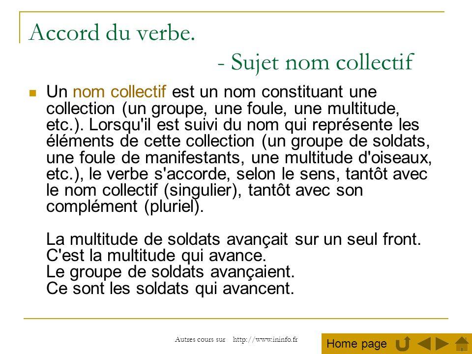 Autres cours sur http://www.ininfo.fr Accord du verbe. - Sujet nom collectif Un nom collectif est un nom constituant une collection (un groupe, une fo