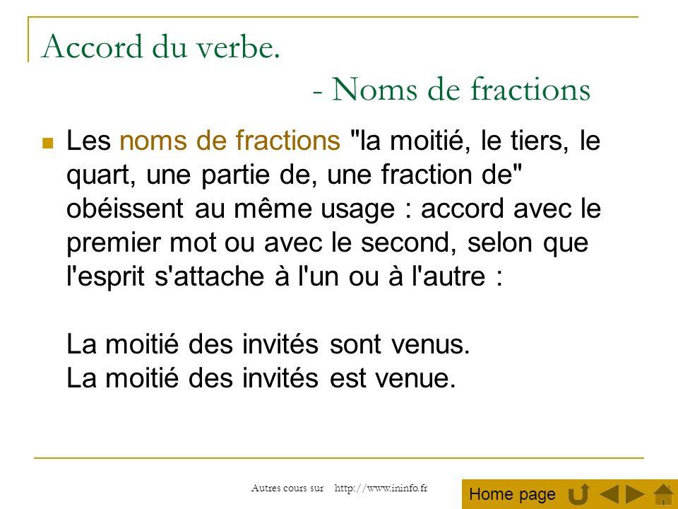 Autres cours sur http://www.ininfo.fr Accord du verbe. - Noms de fractions Les noms de fractions