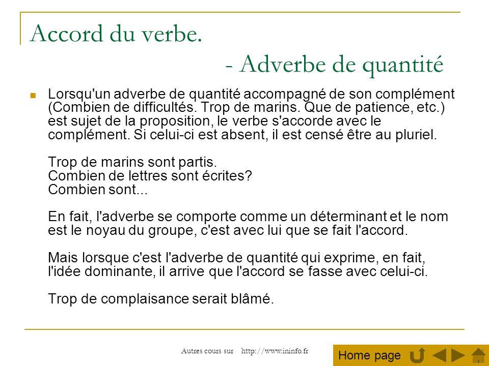 Autres cours sur http://www.ininfo.fr Accord du verbe. - Adverbe de quantité Lorsqu'un adverbe de quantité accompagné de son complément (Combien de di
