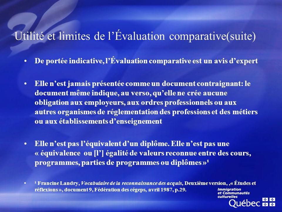 Utilité et limites de lÉvaluation comparative(suite) De portée indicative, lÉvaluation comparative est un avis dexpert Elle nest jamais présentée comm
