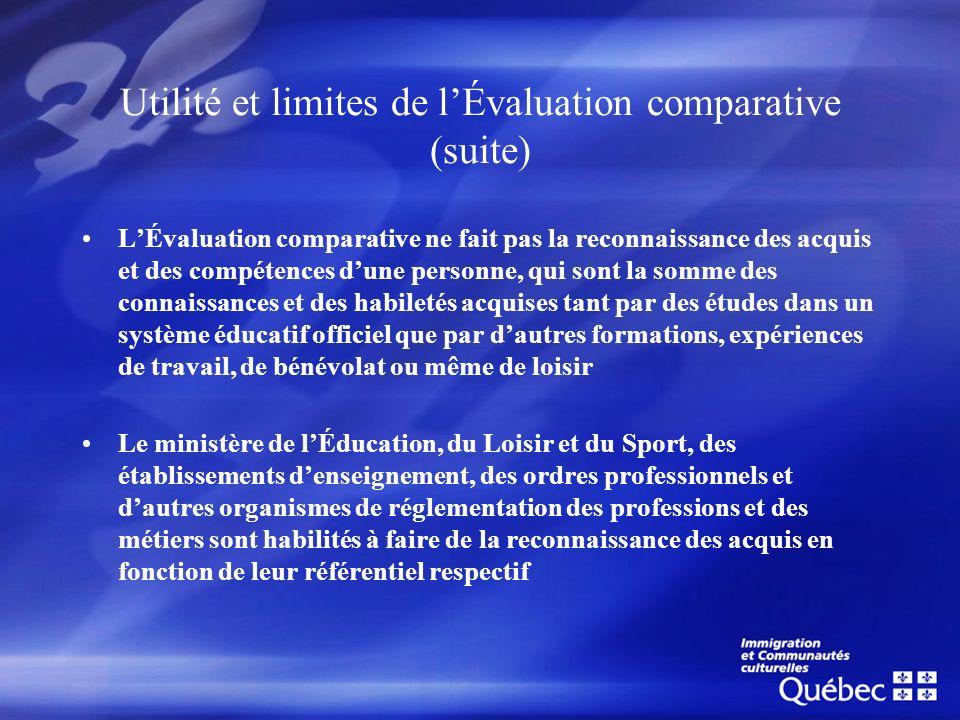 Utilité et limites de lÉvaluation comparative (suite) LÉvaluation comparative ne fait pas la reconnaissance des acquis et des compétences dune personn