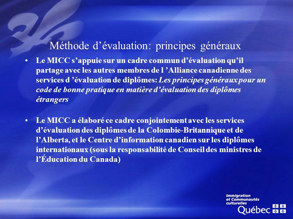 Méthode dévaluation: principes généraux Le MICC sappuie sur un cadre commun dévaluation quil partage avec les autres membres de l Alliance canadienne
