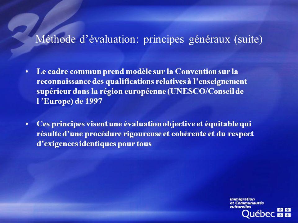 Méthode dévaluation: principes généraux (suite) Le cadre commun prend modèle sur la Convention sur la reconnaissance des qualifications relatives à le