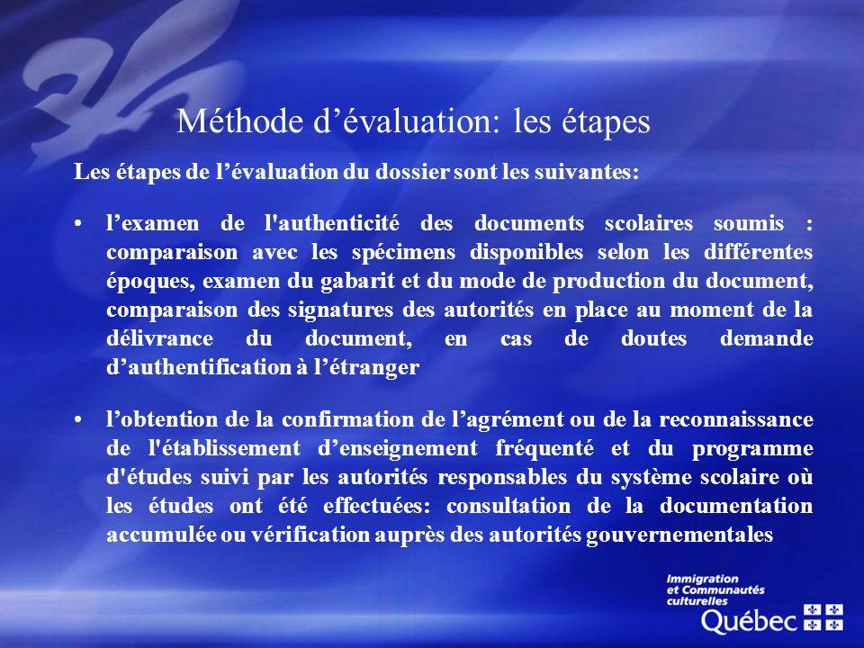 Méthode dévaluation: les étapes Les étapes de lévaluation du dossier sont les suivantes: lexamen de l'authenticité des documents scolaires soumis : co