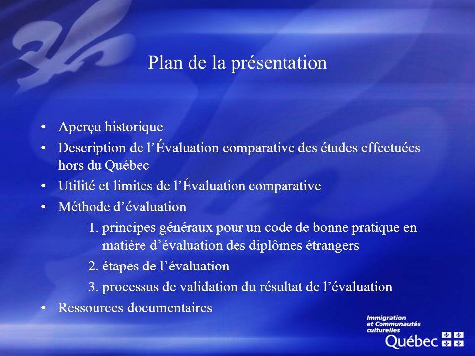 Plan de la présentation Aperçu historique Description de lÉvaluation comparative des études effectuées hors du Québec Utilité et limites de lÉvaluatio