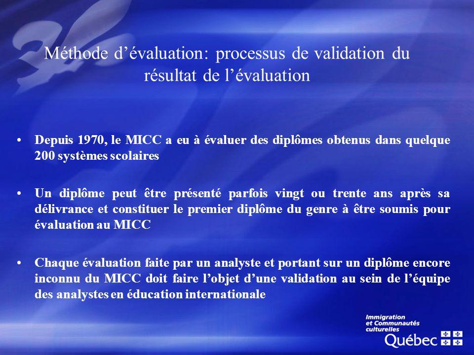 Méthode dévaluation: processus de validation du résultat de lévaluation Depuis 1970, le MICC a eu à évaluer des diplômes obtenus dans quelque 200 syst