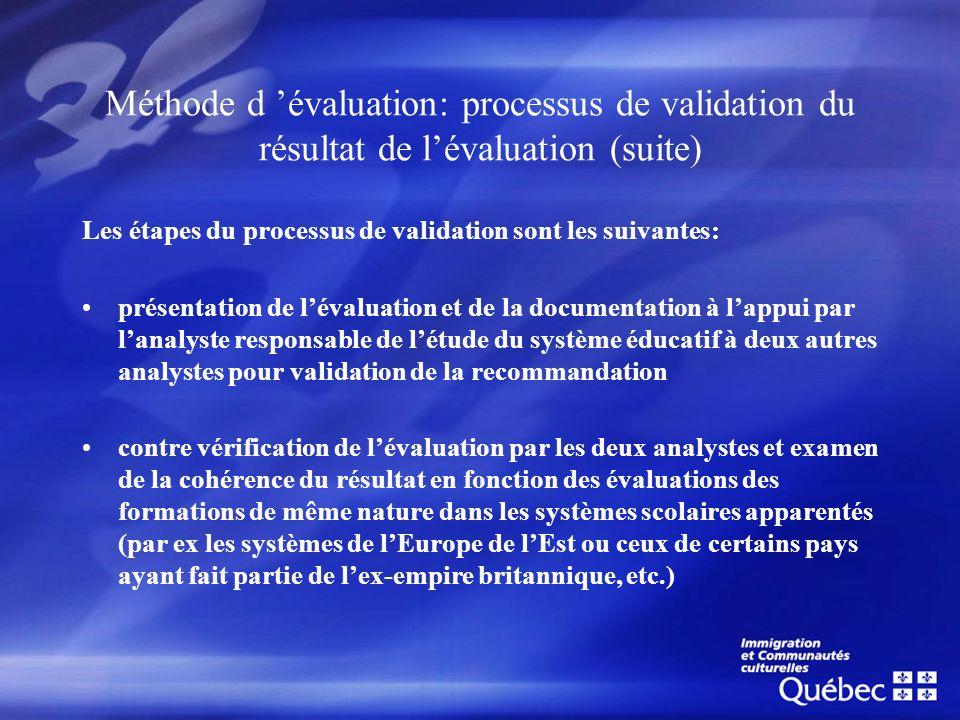 Méthode d évaluation: processus de validation du résultat de lévaluation (suite) Les étapes du processus de validation sont les suivantes: présentatio