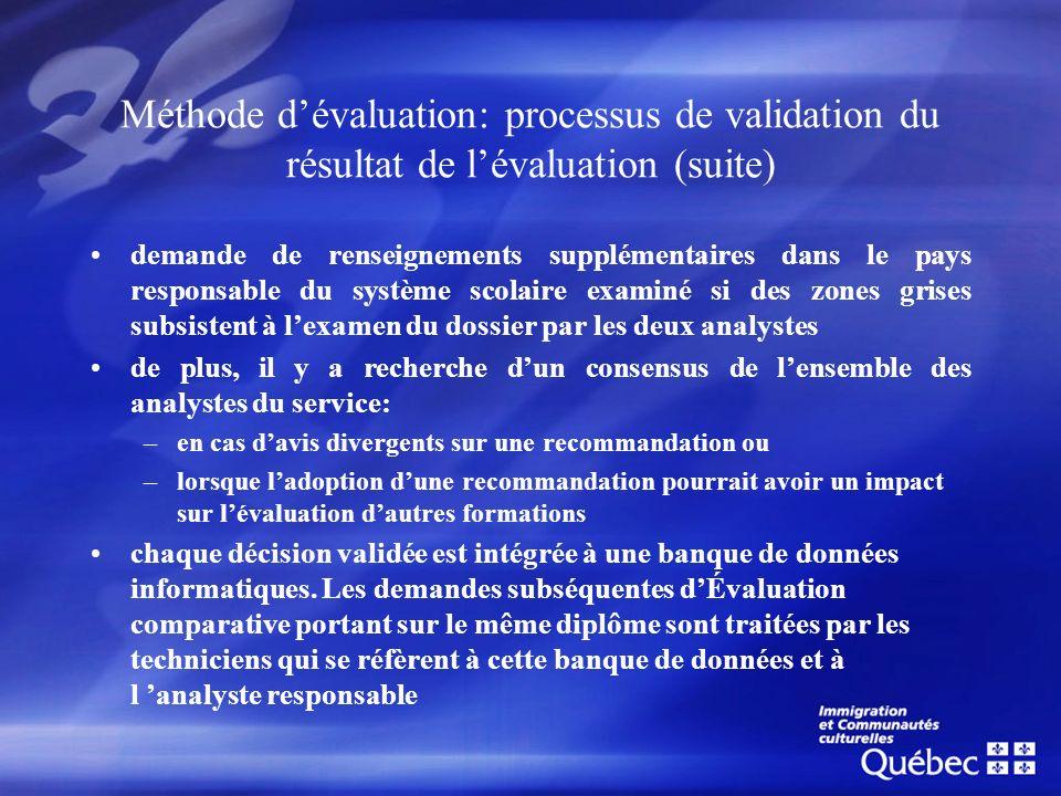 Méthode dévaluation: processus de validation du résultat de lévaluation (suite) demande de renseignements supplémentaires dans le pays responsable du