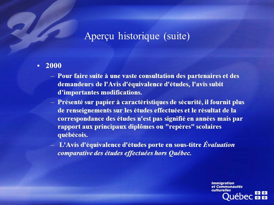Aperçu historique (suite) 2000 –Pour faire suite à une vaste consultation des partenaires et des demandeurs de l'Avis d'équivalence d'études, l'avis s