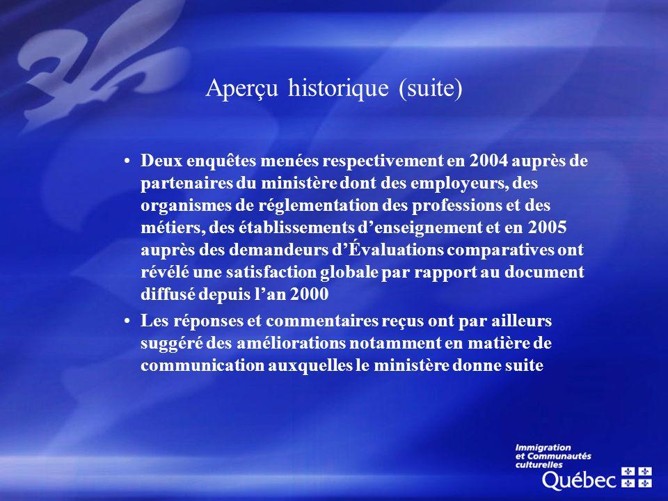 Aperçu historique (suite) Deux enquêtes menées respectivement en 2004 auprès de partenaires du ministère dont des employeurs, des organismes de réglem