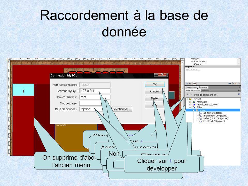 Réaliser le menu Pour réaliser le menu nous devons donner certaines information à Dreamweaver. Définir la base de donnée utilisée. Indiquer quelle tab