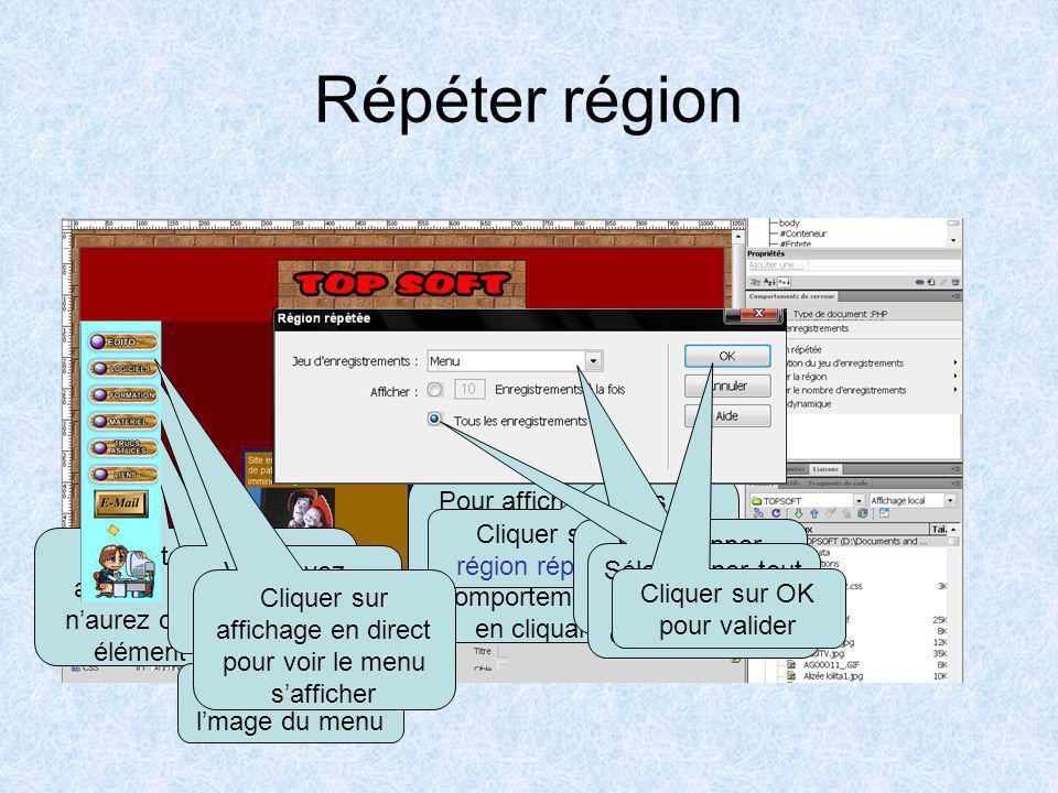 Placer le menu sur la page Insérer une image en haut de la colonne prévue pour le menu Cliquer sur licône fichier Sélectionner source de fichier Sélec