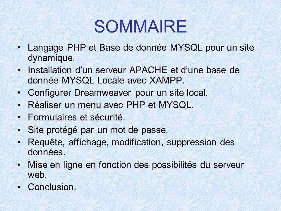 SOMMAIRE Langage PHP et Base de donnée MYSQL pour un site dynamique.