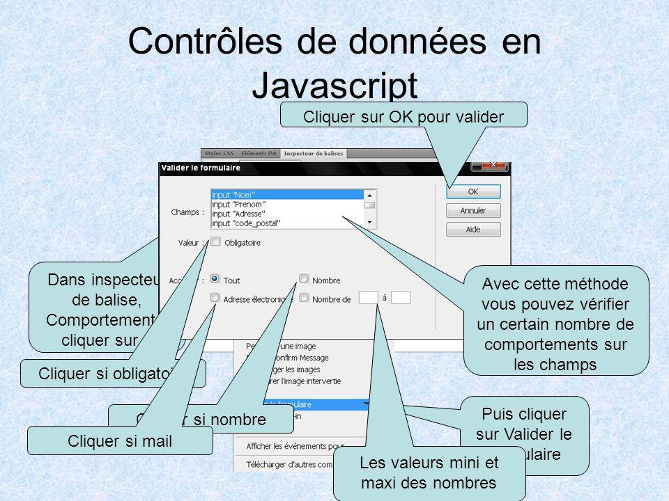 Contrôle de saisie des données Nous allons donc vérifier dans notre formulaire avec du Javascript: –Le remplissage des champs obligatoires –Le format