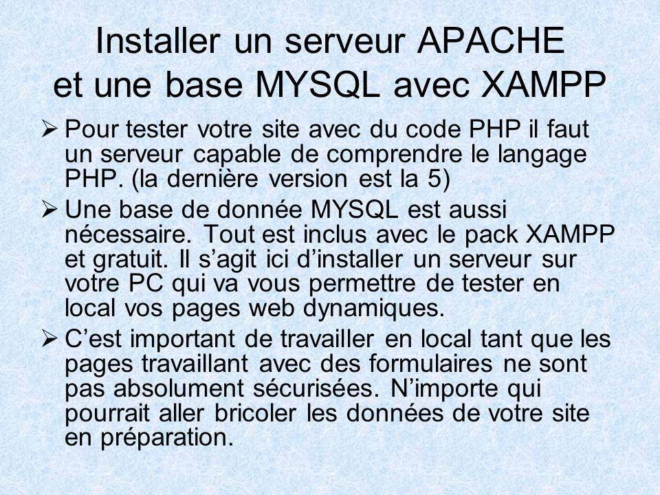 Installer un serveur APACHE et une base MYSQL avec XAMPP Pour tester votre site avec du code PHP il faut un serveur capable de comprendre le langage PHP.