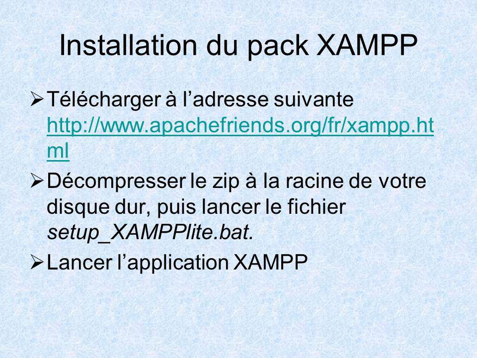 Installation du pack XAMPP Télécharger à ladresse suivante http://www.apachefriends.org/fr/xampp.ht ml http://www.apachefriends.org/fr/xampp.ht ml Décompresser le zip à la racine de votre disque dur, puis lancer le fichier setup_XAMPPlite.bat.