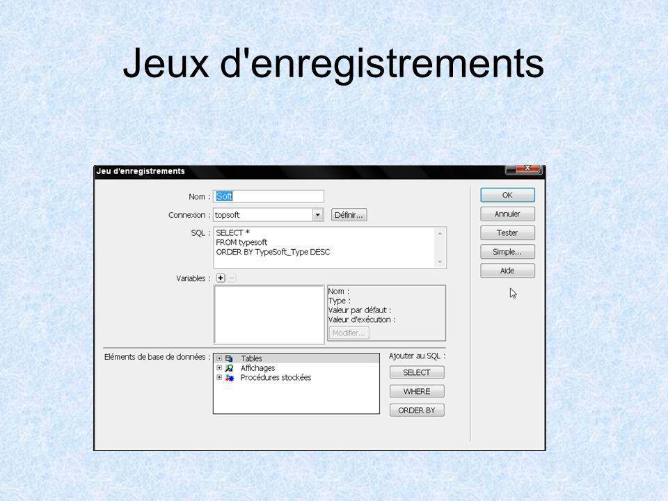 Requêtes Créons 3 jeux d'enregistrements Soft, systemesoft et typesoft dans les comportements serveur en utilisant les tables soft, systeme et typesof