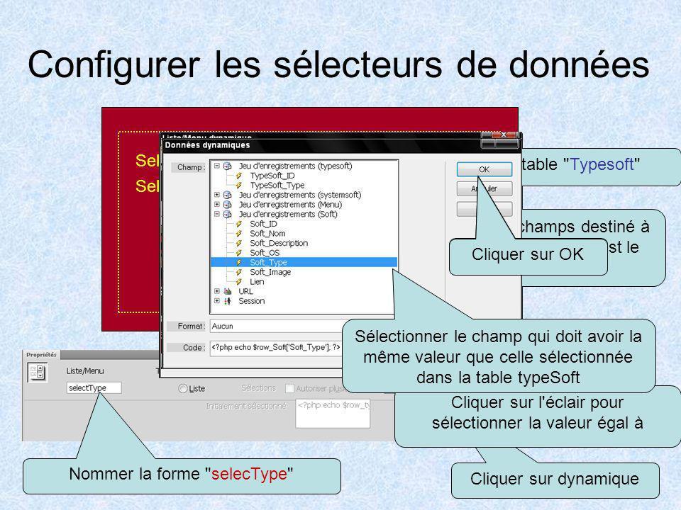 Placer les sélecteurs de données Positionner le curseur à l'emplacement que vous désirer sur la page et Cliquer sur Formulaire Selectionner le type: 