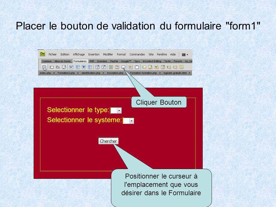 Configurer les sélecteurs de données Selectionner le type:  Selectionner le systeme:  Nommer la forme