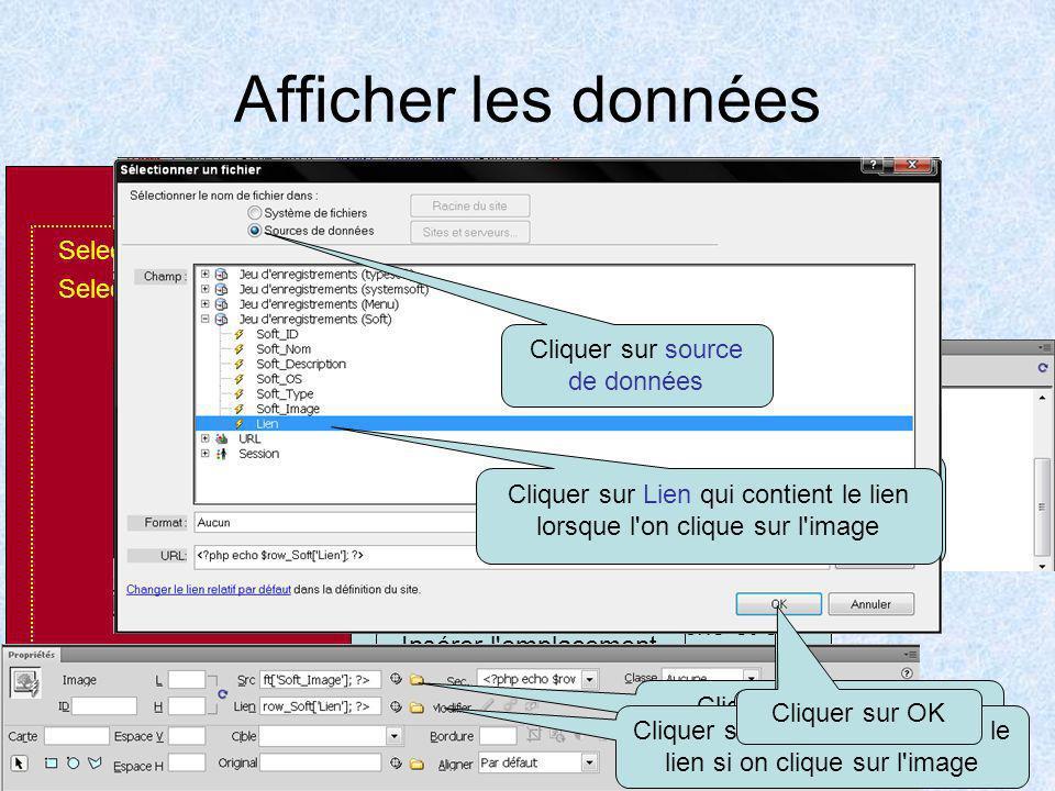 Comportement serveur pour trier les données en fonction des choix Cliquer sur + Cliquer + Table Cliquer soft Cliquer SELECT Cliquer + Variables Nommer