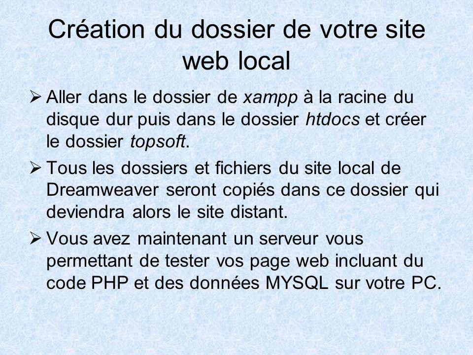 Création du dossier de votre site web local Aller dans le dossier de xampp à la racine du disque dur puis dans le dossier htdocs et créer le dossier topsoft.