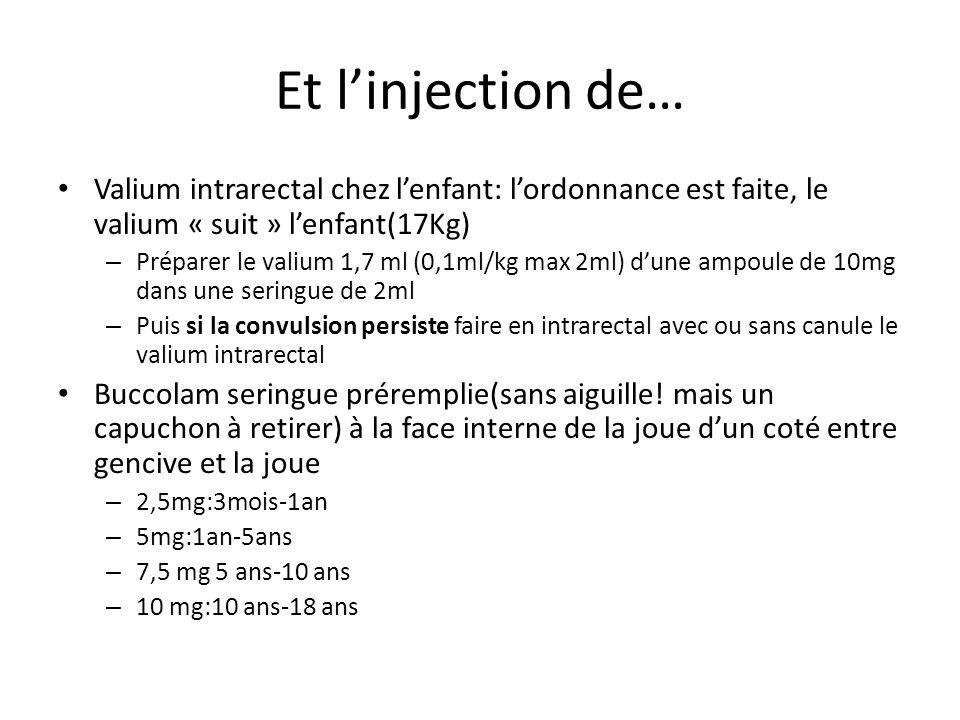 Et linjection de… Valium intrarectal chez lenfant: lordonnance est faite, le valium « suit » lenfant(17Kg) – Préparer le valium 1,7 ml (0,1ml/kg max 2