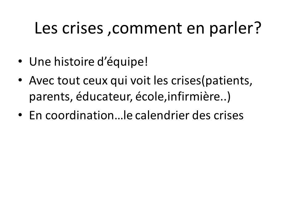 Les crises,comment en parler? Une histoire déquipe! Avec tout ceux qui voit les crises(patients, parents, éducateur, école,infirmière..) En coordinati