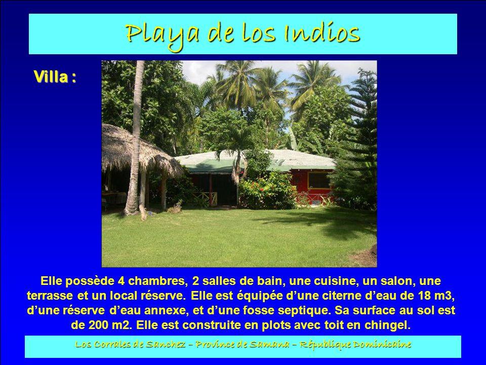 Playa de los Indios Los Corrales de Sanchez – Province de Samana – République Dominicaine Villa : Elle possède 4 chambres, 2 salles de bain, une cuisi